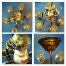 Schicker Kronleuchter, Deckenlampe 6-flammig mit 6 Gläsern und Porzellan Einsatz