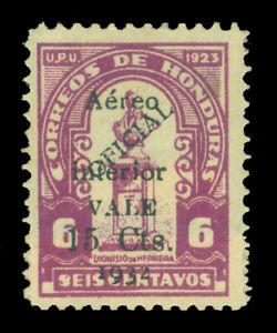 """HONDURAS 1932 AIRMAIL """"Aereo Interior"""" Surch. 15c/6c purple Sc# C74var mint MH"""