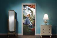 Door Mural Alice in Wonderland Mad Hatters tea Party View Wall Sticker Decal 300