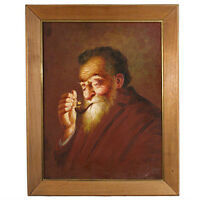 Untitled (Old Man Smoking Pipe) by Hector Moncayo Signed Framed Oil on Canvas