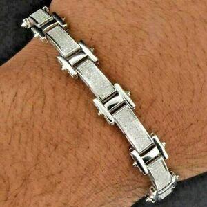 3.5ct Sim Diamond Mens Statement Link Tennis Bracelet 14k White Gold Over Silver