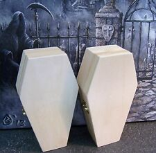 "(2) NEW - 6"" Halloween Hinged Unfinished Vampire Coffin Casket Craft Pet"