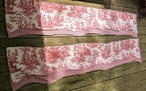"""2 Waverly Country Valance Layered Scalloped Red Toile and Gingham Check 79 x 15"""""""