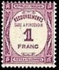 "FRANCE STAMP TIMBRE TAXE N° 59 "" RECOUVREMENT 1F LILAS "" NEUF xx TTB"