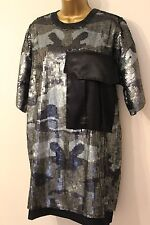 ASOS Camo Utility Pocket Sequin Embellished Relax Fit Shirt Tunic Dress 10 38