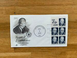 USA US 1970 FDC ART CRAFT BOOKLET PANE x 5 DWIGHT D EISENHOWER 6 CENT ZIP CODE
