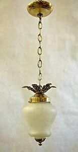Rare Vintage Brass Crackle Frosted Glass Pendant Light Chandelier