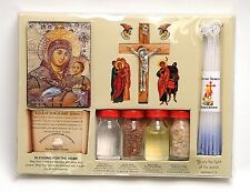 Home Blessing Kit Bottles, Cross & Candles From Holy Land Jerusalem.