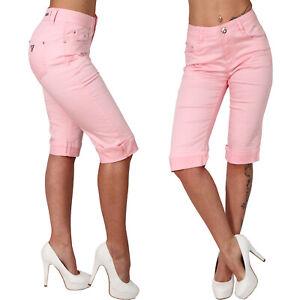 High Waist Damen Bermuda Jeans Hose Strass Steine Nieten gerades Bein Rosa Capri