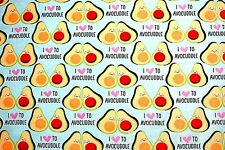 """BTY*SLICED SMILING AVOCADOS """"I LOVE TO AVOCUDDLE"""" PLUSH FLEECE FABRIC 60x36"""" 1YD"""