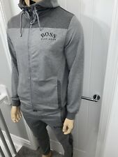 Hugo Boss Grey Tracksuit Zipped Hoodie & Pant Mens Medium RRP £288 Bargain £109