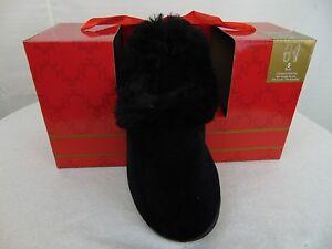 Charter Club Faux Fur Trim Scuff Slippers Small 5-6 Deep Black