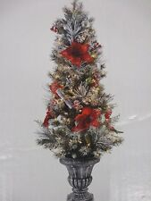 5 Ft Pre-Lit Flocked Red Poinsettia Tree In Decorative Pot - New W Box