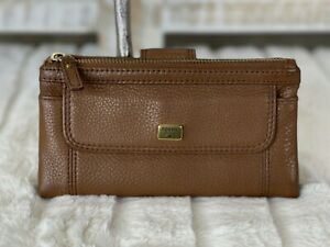 FOSSIL Brown Pebbled Leather Wallet Tab Snap Closure Bifold Clutch Organizer