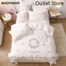 Warm Flannel Velvet Fleece Flower Embroidery Bedding Set Cover Set Bed Linen