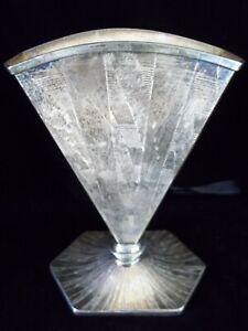 Vintage Silver Plate Britannia Fan Vase BMMTS EPNS Art Deco Geometric Design