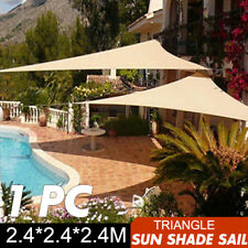 Shade Sail 2.4m Triangle Sun Canopy Patio Awning Waterproof 90% UV Shelter 8ft
