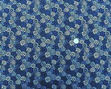 Oriental chrysanths and flowers Dark Blue fabric 1m x 112cm 100% Cotton F641-1