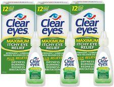 Clear Eyes (Maximum Itchy Eye Relief) Eye Drops, 0.5 Fl Oz (15 mL) (Pack of 3)