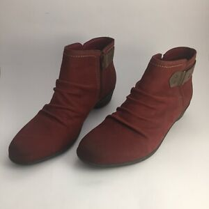 Cobb Hill Collection by Rockport Nicole Red Ankle Boots Booties Size 9 M