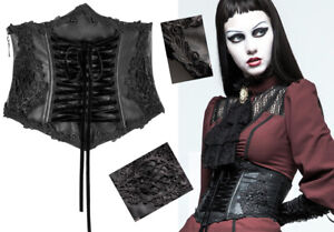 Embroidered leather corset belt gothic lolita baroque victorian lace up PunkRave