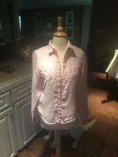 57c4a6e5d1c33 Island Company Linen Pilot Shirt S Pink Button Front 2 Pckt Button Up