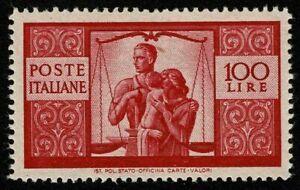 REPUBBLICA 1945 DEMOCRATICA 100 Lire Valore Nuovo MLH Sassone 575,00 Euro.....