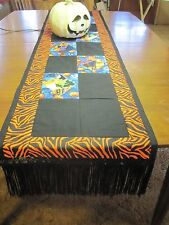 """Handcrafted Crazy Quilt Halloween Table Runner with 5 1/2"""" Fringe 16""""x 63""""  NEW"""