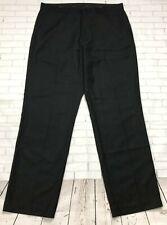 Calvin Klein Mens Dress Pants Sz 34 X 32 Black Striped Flat Front Career Slacks