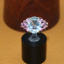 "ESTATE ""Aquamarine & Pink Sapphire"" Ring 14k Yellow Gold Size 5"