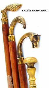 Antique OLD Brass Head Handle Derby Design Handle Cane Walking Stick Style Gift