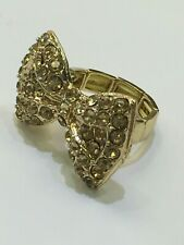 Lady Girl Size 6 7 8 9 new Gold Sparkling Crystals Bow Ribbon Cute Fashion Ring