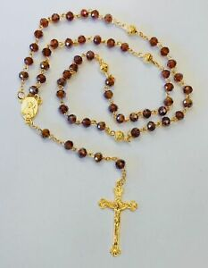 Rosary Of Brown Acrylic Beads With Crucifix In Gold