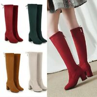 Womens Round Toe 5 Colors Block Heel Riding Punk Mid Calf High Boots Size 34-48