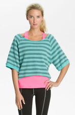 HARD TAIL Stripe Raglan Sleeve Boxy Hi Lo Asymmetric Sweatshirt Yoga Top *S* $78