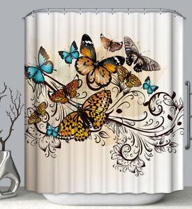 Butterfly Design Fabric SHOWER CURTAIN 70x70 w/ Hooks Monarch Orange Blue Nature
