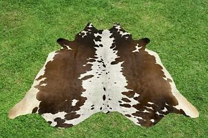 Cowhide Rugs Tricolor Brown Real Cow Hide Hair on Skin Leather Area Rug 5 x 5 ft