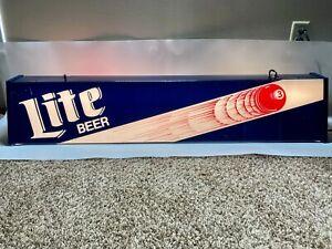"RARE BIG 48"" VINTAGE MILLER LITE BEER POOL TABLE LIGHT 3-BALL MAN CAVE BAR 1980s"