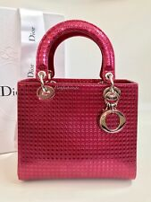 Limited Authentic Lady Dior Medium Metallic Calfskin Cannage Fuchsia Pink Bag