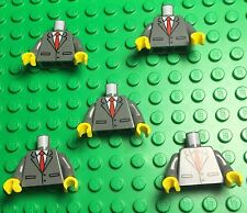Lego X5 New Dark Bluish Gray Suit / Tuxedo Mini Figure Torso W/  Red Tie Pattern