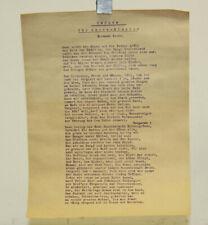 orig. Dokument 1921 Gedicht Hermann Stehr Prolog für Oberschlesien