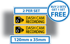 2 x Dash Cam Recording Stickers CCTV In Car Video Warning Decals 120mmx35mm