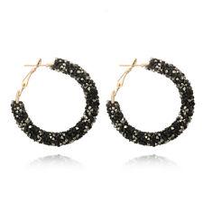 Design Charm Crystal Hoop Ear Stud Geometric Round Rhinestone Earrings Black