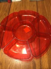 Candy Sugar Plate Dry Fruit Dish Plastic Red Ships N 24h