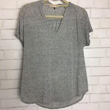 Rebecca Taylor Womens Linen Blend V Neck Short Sleeve Tee Shirt Gray Size Small
