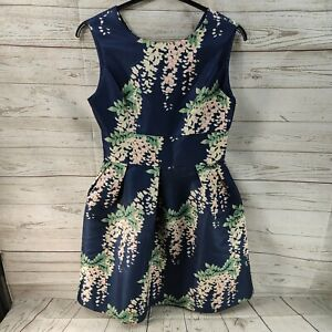 DARLING London 50's Inspired Fit & Flare Dress Size 12 Navy Floral Pockets Party
