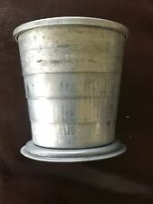 Vintage Aluminum Tin Expandable Drinking Cup Collapsible With Lid