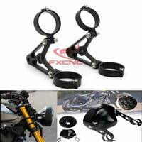 CNC Black 41mm Headlight Mount Bracket Fork Turn Light Clamp For Kawasaki Honda