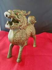 "Antique Chinese Brass Dragon Head Deer Feet Statue Incense Burner 6.5x2.25x6.5"""