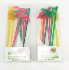 x20 Tropical Flamingo Pineapple Palm Tree Plastic Drink Stirrer Sticks Summer